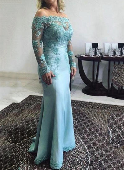 Trumpet/Mermaid Off-the-Shoulder Satin Long Sleeves Floor-Length Lace Appliques Lace Mother of the Bride Dresses (008146293)