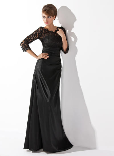 A-Line/Princess Scoop Neck Charmeuse Lace 3/4 Sleeves Floor-Length Ruffle Beading Mother of the Bride Dresses (008006037)