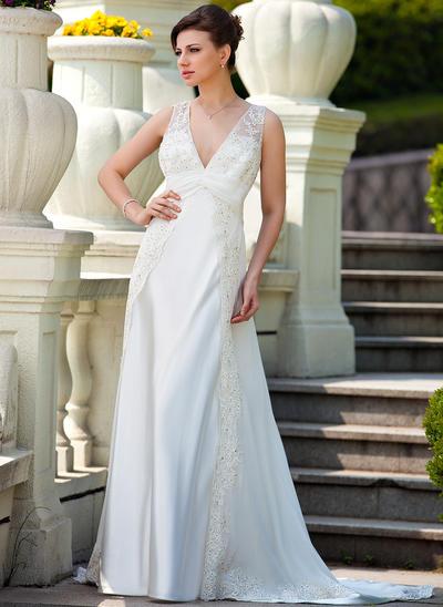 Fashion Court Train A-Line/Princess Wedding Dresses Sweetheart Chiffon Charmeuse Sleeveless (002210464)