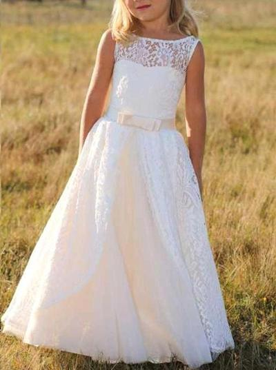 Stunning Floor-length A-Line/Princess Flower Girl Dresses Scoop Neck Lace Sleeveless (010146751)
