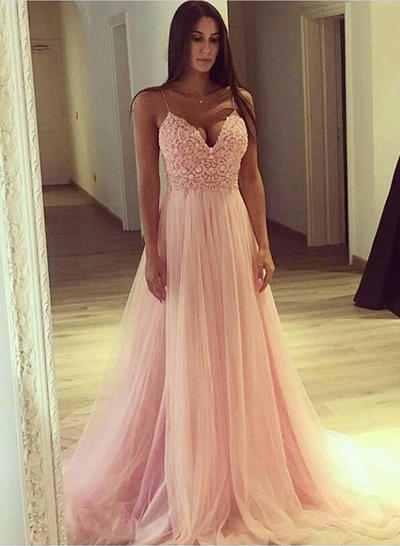 Tulle Sleeveless A-Line/Princess Prom Dresses V-neck Appliques Lace Sweep Train (018218634)