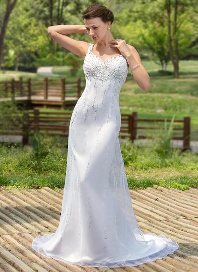 Fashion Court Train Trumpet/Mermaid Wedding Dresses Sweetheart Satin Organza Sleeveless (002000384)
