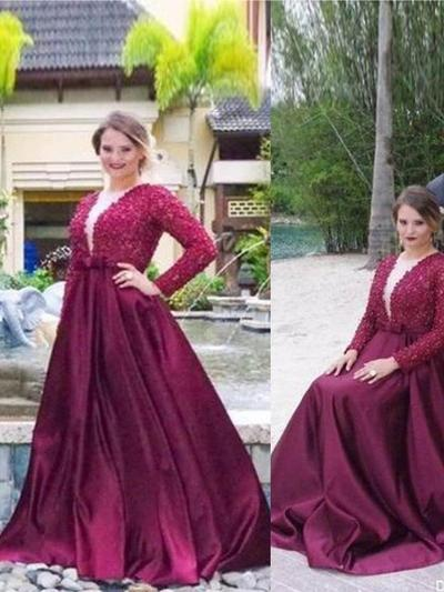 Satin Long Sleeves A-Line/Princess Prom Dresses V-neck Beading Sweep Train (018210253)