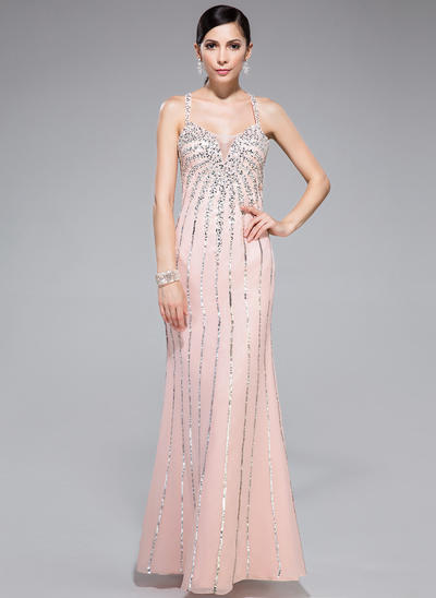 Chiffon Sleeveless Trumpet/Mermaid Prom Dresses Sweetheart Beading Sequins Floor-Length (018044977)