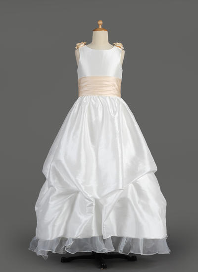 Magnificent Floor-length A-Line/Princess Flower Girl Dresses Scoop Neck Taffeta/Organza Sleeveless (010014607)