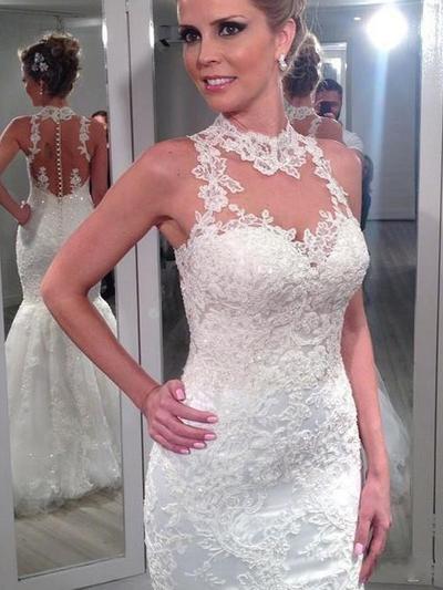 2019 New Sweep Train Trumpet/Mermaid Wedding Dresses High Neck Tulle Lace Sleeveless (002144821)