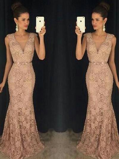 Trumpet/Mermaid V-neck Lace Sleeveless Sweep Train Evening Dresses (017213622)