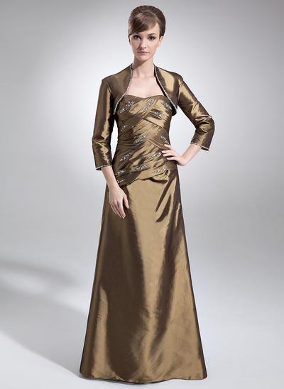 A-Line/Princess Sweetheart Taffeta Sleeveless Floor-Length Ruffle Beading Mother of the Bride Dresses (008006009)