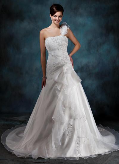 Chic Court Train A-Line/Princess Wedding Dresses One Shoulder Satin Organza Sleeveless (002196826)