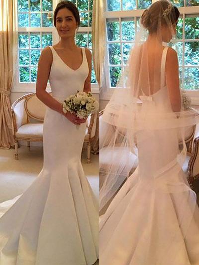 Elegant Sweep Train Trumpet/Mermaid Wedding Dresses V-neck Satin Sleeveless (002210865)