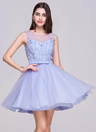 A-Line/Princess Scoop Neck Chiffon Tulle Sleeveless Short/Mini Beading Flower(s) Sequins Homecoming Dresses (022068060)