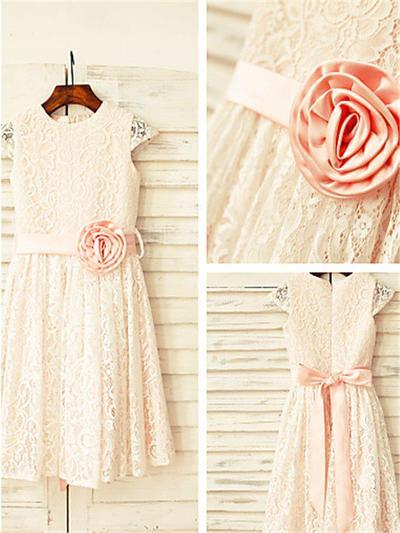 Modern Tea-length A-Line/Princess Flower Girl Dresses Scoop Neck Lace Sleeveless (010212019)