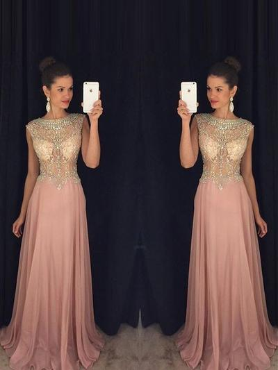Sleeveless A-Line/Princess Prom Dresses Scoop Neck Beading Appliques Lace Floor-Length (018212209)