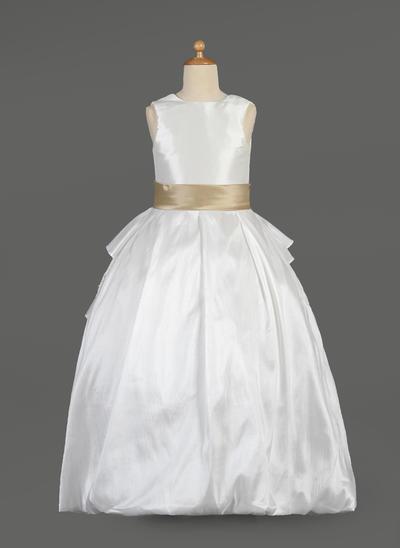 Simple Floor-length Ball Gown Flower Girl Dresses Scoop Neck Taffeta/Lace Sleeveless (010014634)