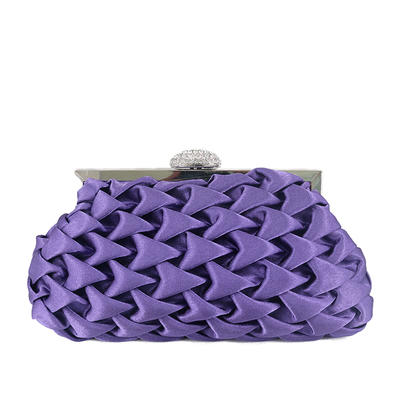 Clutches Wedding/Ceremony & Party Satin Kiss lock closure Elegant Clutches & Evening Bags (012185252)