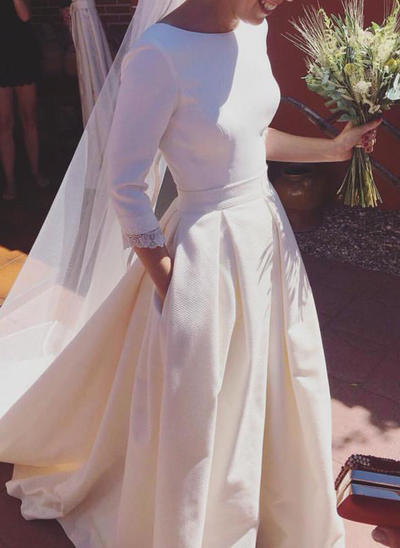 Gorgeous Sweep Train A-Line/Princess Wedding Dresses Scoop Satin 3/4 Length Sleeves (002146913)