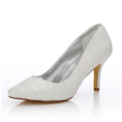 Frauen Geschlossene Zehe Absatzschuhe Färbbare Schuhe Stöckel Absatz Lace Satin ja Brautschuhe (047205933)