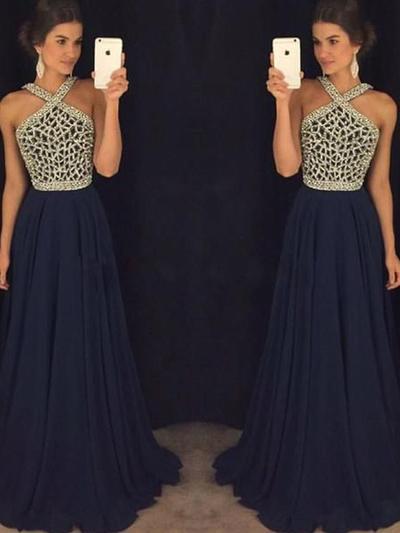 A-Line/Princess V-neck Chiffon Sleeveless Floor-Length Beading Evening Dresses (017196697)