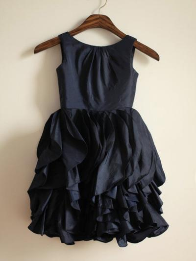 Sweetheart Tea-length A-Line/Princess Flower Girl Dresses Scoop Neck Taffeta Sleeveless (010211904)