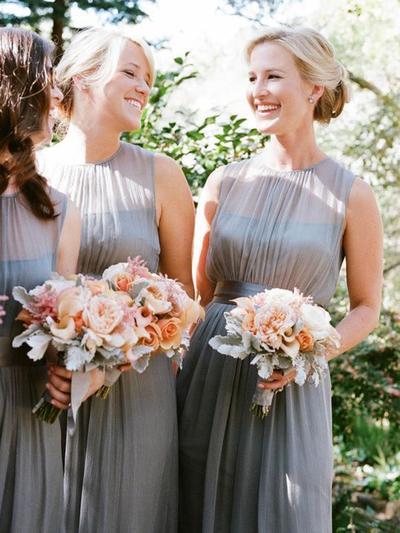 Chiffon Sleeveless A-Line/Princess Bridesmaid Dresses Scoop Neck Ruffle Floor-Length (007212236)