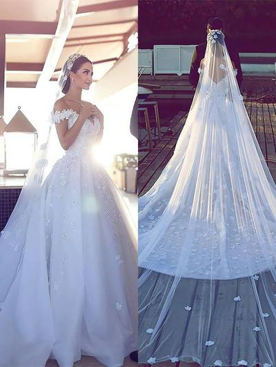 Princess Cathedral Train Ball-Gown Wedding Dresses Off-The-Shoulder Tulle Lace Sleeveless (002210845)