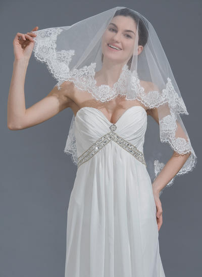 Waltz Bridal Veils Tulle One-tier Classic With Lace Applique Edge Wedding Veils (006152138)
