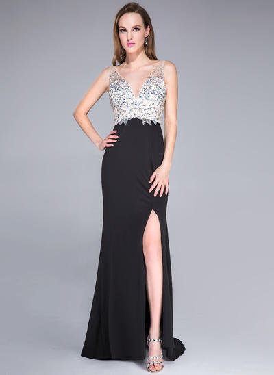 Tulle Jersey Sleeveless Trumpet/Mermaid Prom Dresses V-neck Beading Sequins Split Front Sweep Train (018042784)