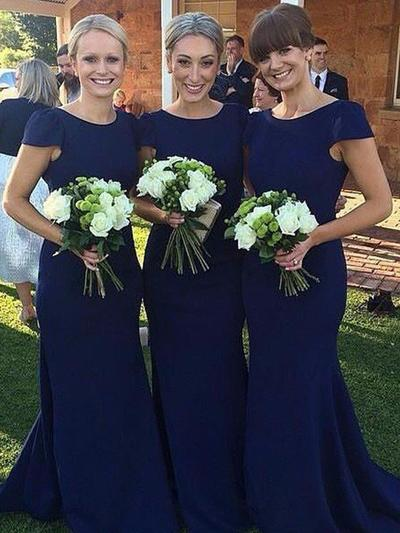 Satin Short Sleeves Sheath/Column Bridesmaid Dresses Scoop Neck Floor-Length (007211726)