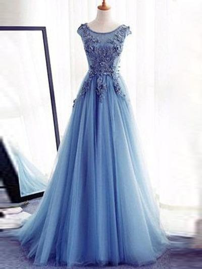 Tulle Sleeveless A-Line/Princess Prom Dresses Scoop Neck Appliques Lace Floor-Length (018217278)