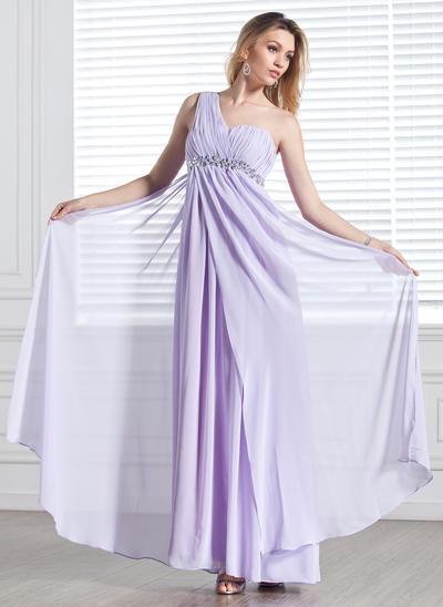 Empire One-Shoulder Chiffon Sleeveless Floor-Length Ruffle Beading Evening Dresses (017002555)