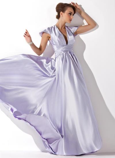 A-Line/Princess V-neck Charmeuse Sleeveless Floor-Length Ruffle Evening Dresses (017021119)