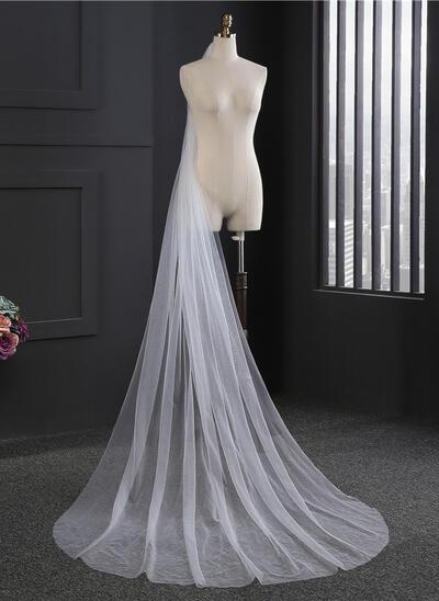 Dom Braut Schleier Tüll Einschichtig Ovale mit Schnittkante Brautschleier (006152161)