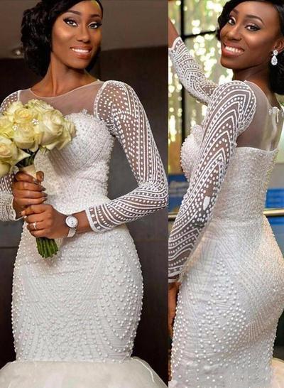 Gorgeous Sweep Train Trumpet/Mermaid Wedding Dresses Scoop Tulle Long Sleeves (002148018)