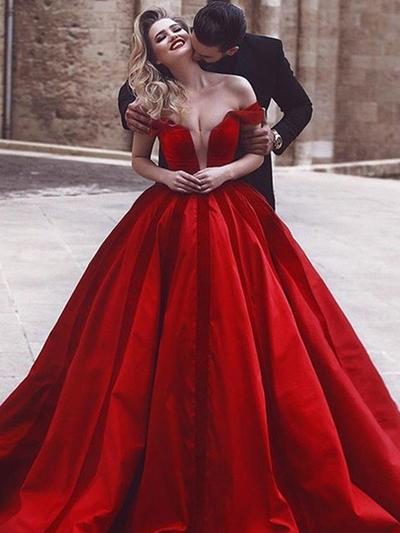 Satin Sleeveless Ball-Gown Prom Dresses Off-the-Shoulder Ruffle Sweep Train (018218135)