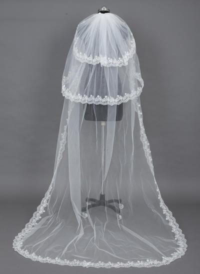 Chapel Bridal Veils Tulle Three-tier Drop Veil With Lace Applique Edge Wedding Veils (006151125)