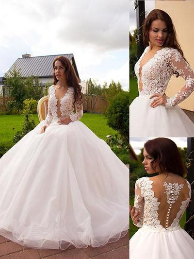 Delicate Court Train Ball-Gown Wedding Dresses Deep V Neck Tulle Long Sleeves (002148005)