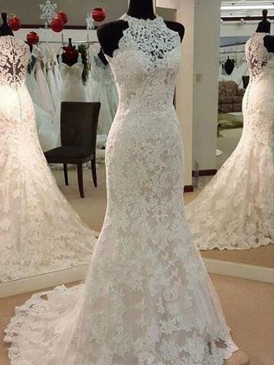 Newest Sweep Train Trumpet/Mermaid Wedding Dresses Scoop Tulle Sleeveless (002213564)