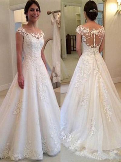 Elegant Sweep Train A-Line/Princess Wedding Dresses Scoop Tulle Sleeveless (002218053)