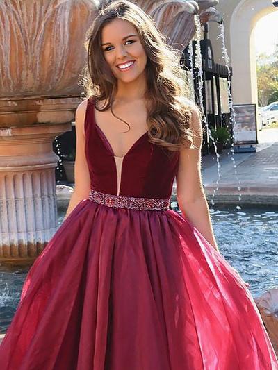 A-Line/Princess V-neck Organza Sleeveless Floor-Length Beading Evening Dresses (017212109)