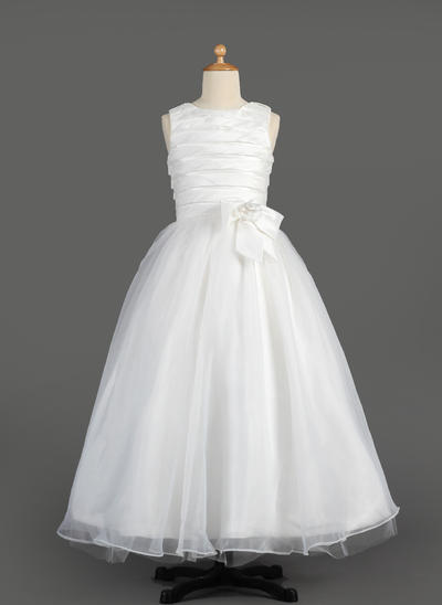 Glamorous Floor-length A-Line/Princess Flower Girl Dresses Scoop Neck Taffeta/Organza Sleeveless (010014605)