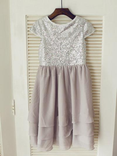 Flattering Knee-length A-Line/Princess Flower Girl Dresses Scoop Neck Chiffon/Sequined Sleeveless (010212043)