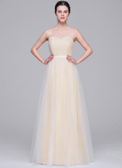 Luxurious Floor-Length A-Line/Princess Wedding Dresses Sweetheart Tulle Sleeveless (002210664)