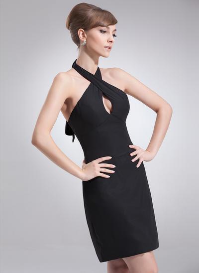 Sheath/Column Halter Chiffon Sleeveless Short/Mini Bow(s) Cocktail Dresses (016008731)