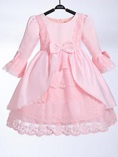 Magnificent Knee-length A-Line/Princess Flower Girl Dresses Scoop Neck Taffeta/Lace 3/4 Sleeves (010211961)