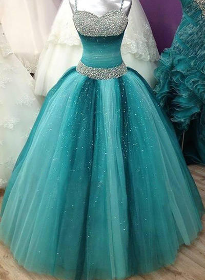 beading sleeveless tulle prom dress