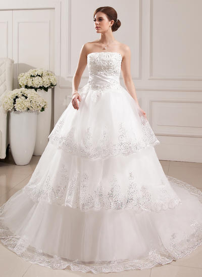 Elegant Cathedral Train Ball-Gown Wedding Dresses Strapless Tulle Sleeveless (002196904)