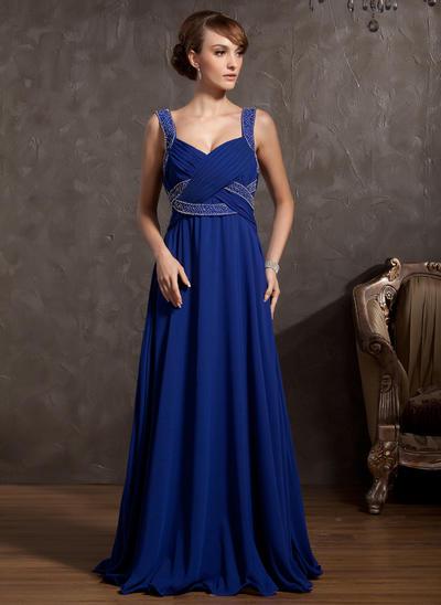 Empire V-neck Chiffon Sleeveless Floor-Length Ruffle Beading Mother of the Bride Dresses (008211062)