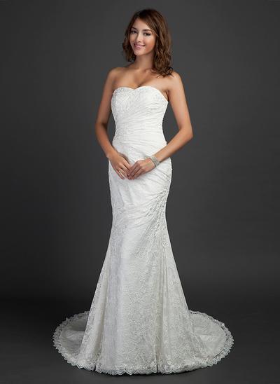 Flattering Court Train Trumpet/Mermaid Wedding Dresses Sweetheart Lace Sleeveless (002000460)