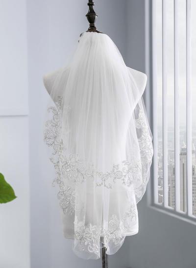 Ellenbogen Braut Schleier Tüll Zweischichtig mit Spitze Saum mit Lace Brautschleier (006152516)