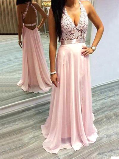Chiffon Sleeveless A-Line/Princess Prom Dresses Halter Lace Sweep Train (018210230)